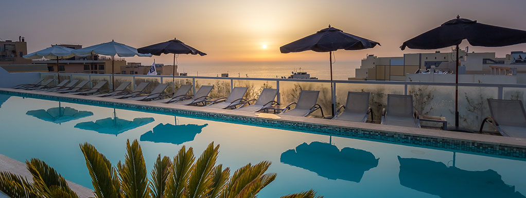 Rooftop pool at The George Hotel Malta